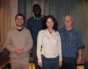Alex Zito, Masse Ndiaye, Leigh Swigart and John Hutchison after an AV interview